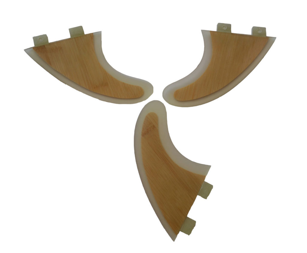 Thruster Fin set FCS GFK Bamboo Medium 4″ 5/8 (G5)