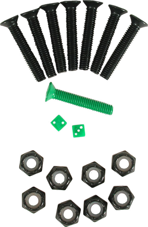 "Montagesatz Lucky Bolts Lucky 1 1/8 inch-Kreuzschlitz Produkt Informationen: Enthält: 7 schwarze Kreuzschrauben der Länge 1 1/8"" 1 grüne Kreuzschraube der Länge 1 1/8"" 8 Muttern 2 Mini Würfel"