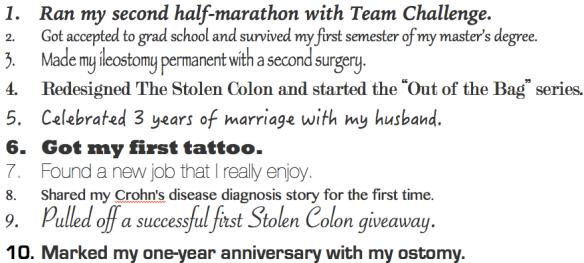 top 10 list 2013 year goals achievements major events stephanie hughes stolen colon crohn's disease ulcerative colitis inflammatory bowel disease ibd ileostomy blog