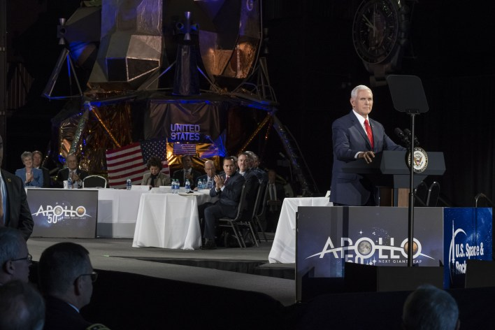 Mike Pence speaking at NASA