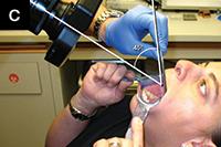 Позиции пациента и оператора для съемки нижнечелюстной плоскости прикуса