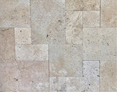 ivory travertine tiles french pattern unfilled tumbled