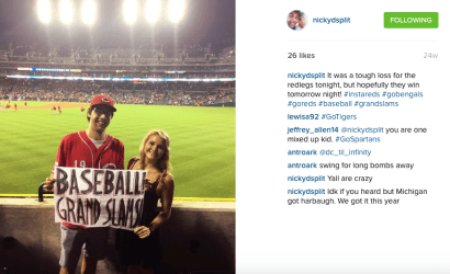 Nick posting on Instagram about a Reds game he attended