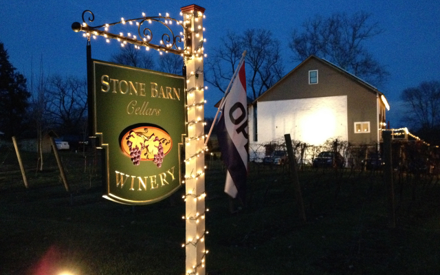 winery at night Christmas lights sign