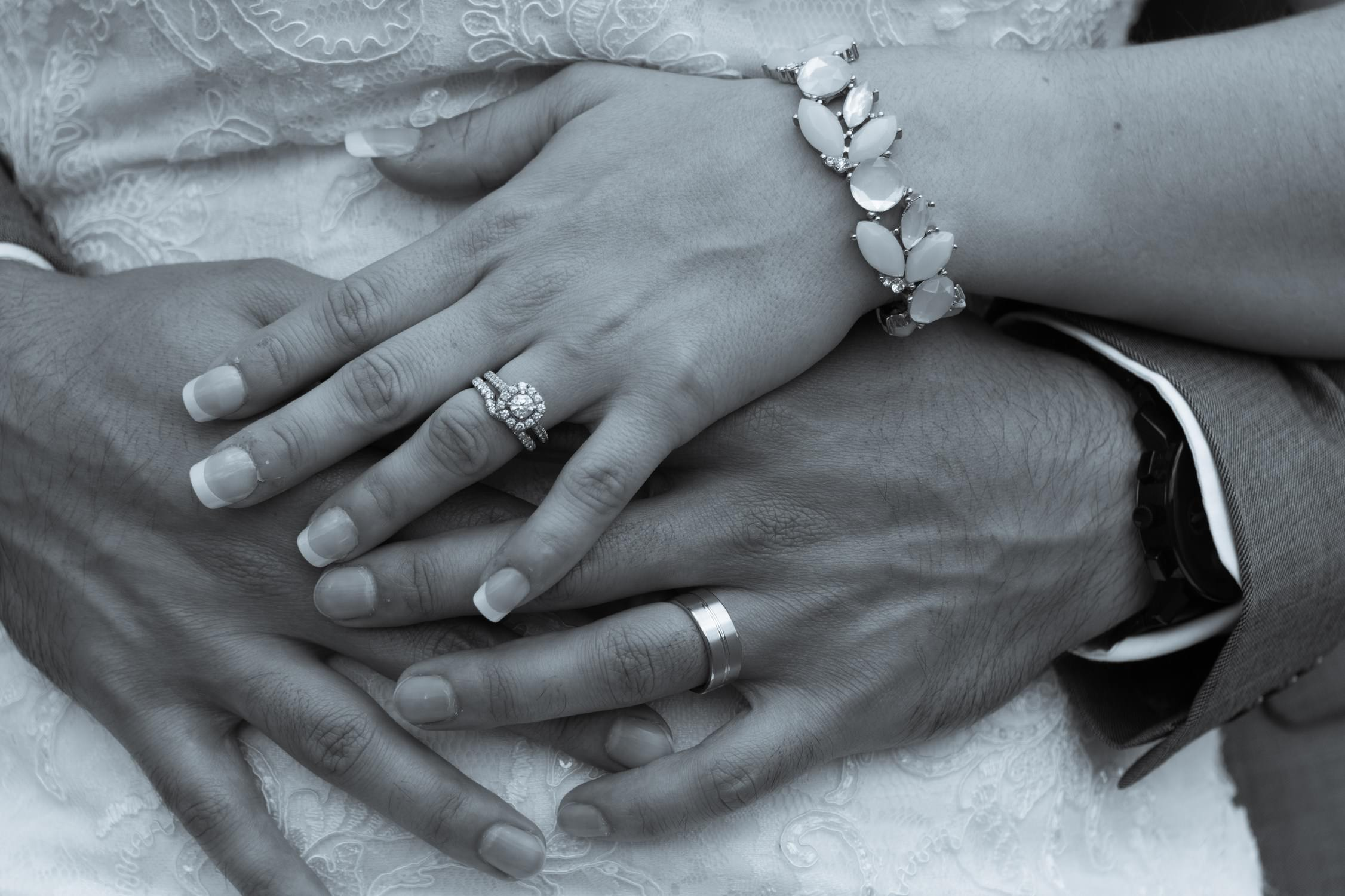 Bride And Groom Hands With Rings