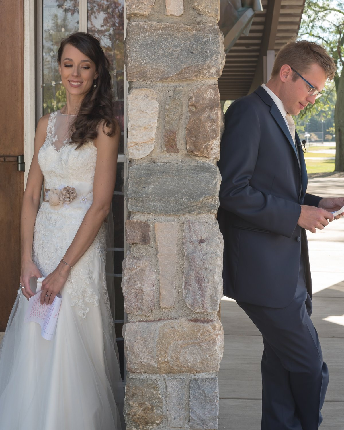 Bride And Groom Reading Letters Hidden