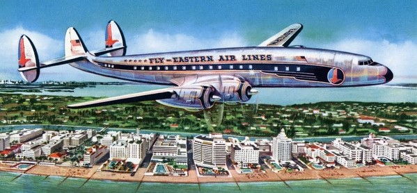 Eastern Airlines Constellation Over Miami Beach