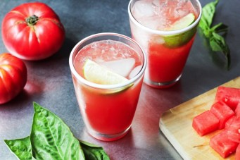 Basil is surprisingly fresh when paired with delicious watermelon. You'll Need Mix together 6 cups water, 2 slices of watermelon, handful of basil, scrunched to release flavor. Chill and serve!