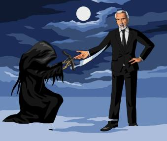 Dear Jim In tribute to Christopher Lee can you draw Death handing over his scythe with Lee taking his place? Allan McElvenny