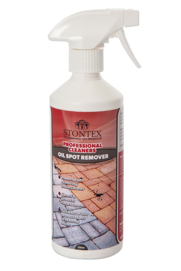 Image of Stontex Oil Spot Remover cleans oil stains from natural stone and paving