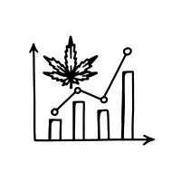 an icon of a chart pointing up with a weed leaf on it