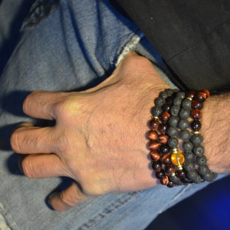 stone era, natural stone bracelet, lava stone and red tiger eye, manon tremblay ottawa
