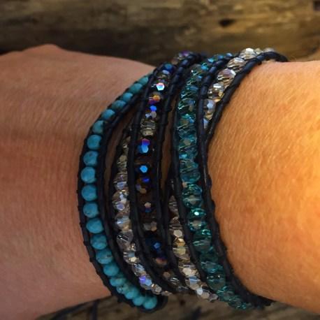stone era bracelet, handmade manon tremblay otttawa, bliss leather wrap