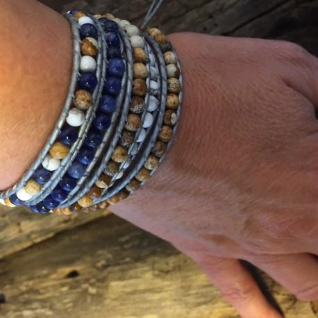 stone era natural stone bracelet, manon tremblay ottawa leather, solidate, jasper, white turquoise