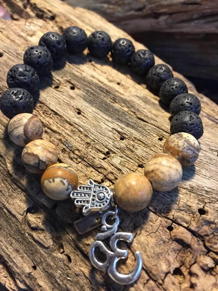 Stone Era natural stone bracelet,  lava and jasper manon tremblay ottawa buddha