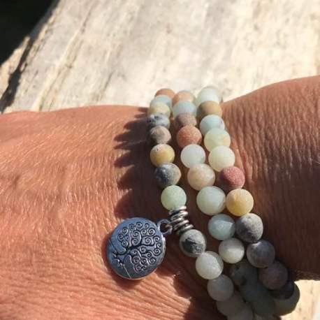 Stone Era natural stone bracelet amazonite with tree of life for her manon tremblay ottawa 3 loop