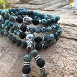 African Turquoise and lava mala