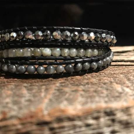 True self manon tremblay stone era bracelet handamade diamond cut hematite and labradorite