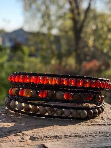 anchor stone era bracelet manon tremblay handmade ottawa red agate jasper and tiger eye