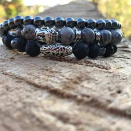 Grounded ( 3 rows – Hematite – Lava – Spider Jasper) For Him