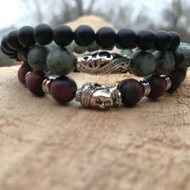 Grounded 3 rows (Red Tiger, African Turquoise, Onyx)