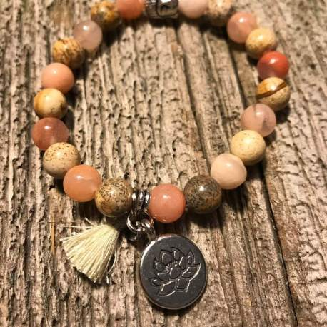 Stone Era moon stone with jasper, manon tremblay ottawa tassel