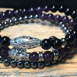 Amethyst – Onyx and Hematite wrap