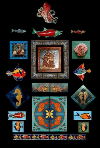 Stonelight Tile Inc San Jose CA Custom Tile fish-ships-sealife: