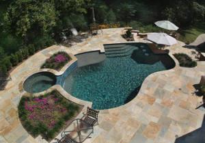 Copper Bay Pattern Flagstone Pool Deck