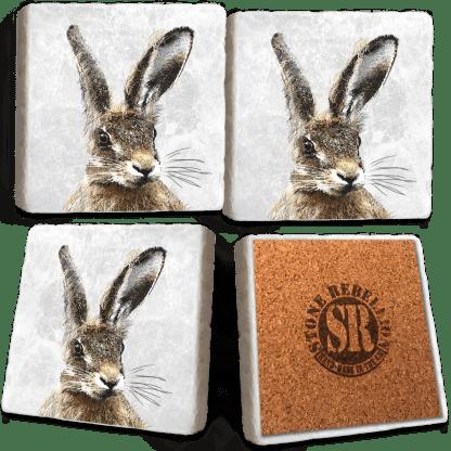 Hare Marble Coaster Set