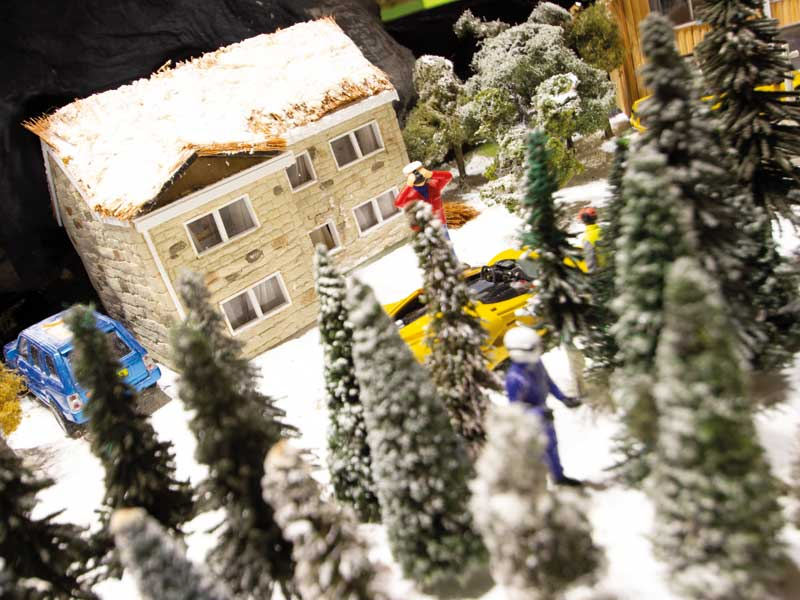 Ice Road Village set in Scalextric track.