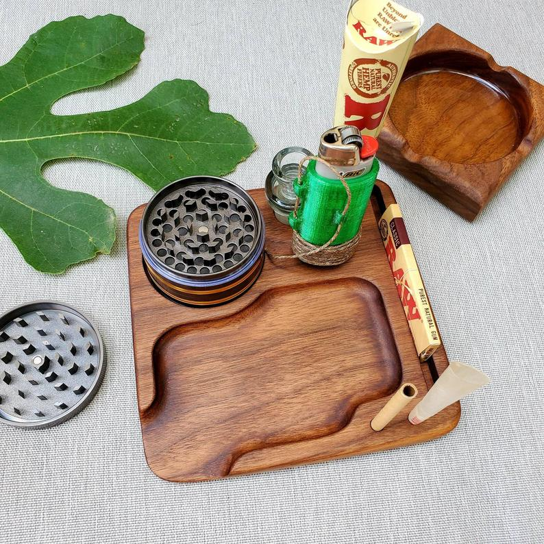 cool wooden custom rolling tray set