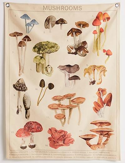 trippy mushroom tapestry