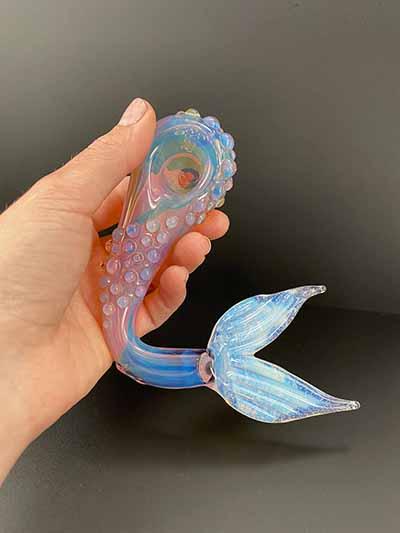 mermaid glass pipe etsy