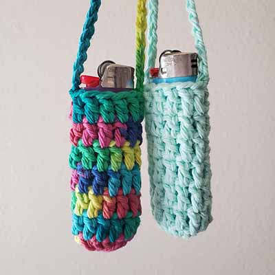 tiktok crochet lighter holder keychain