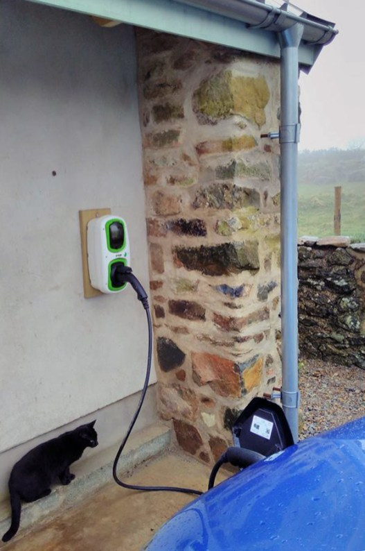 Type 2 electric charge point at stones cottages