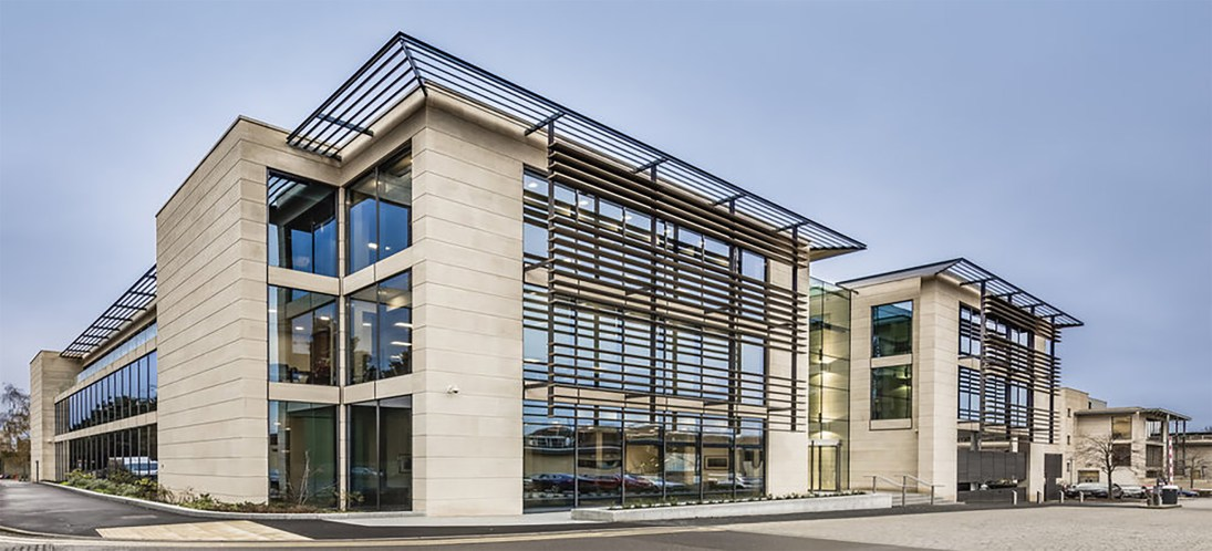 Stonescreen Aerolite© faced with Limestone panels fixed onto curtain wall system