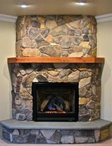 Mountain Stone Veneer Fireplace