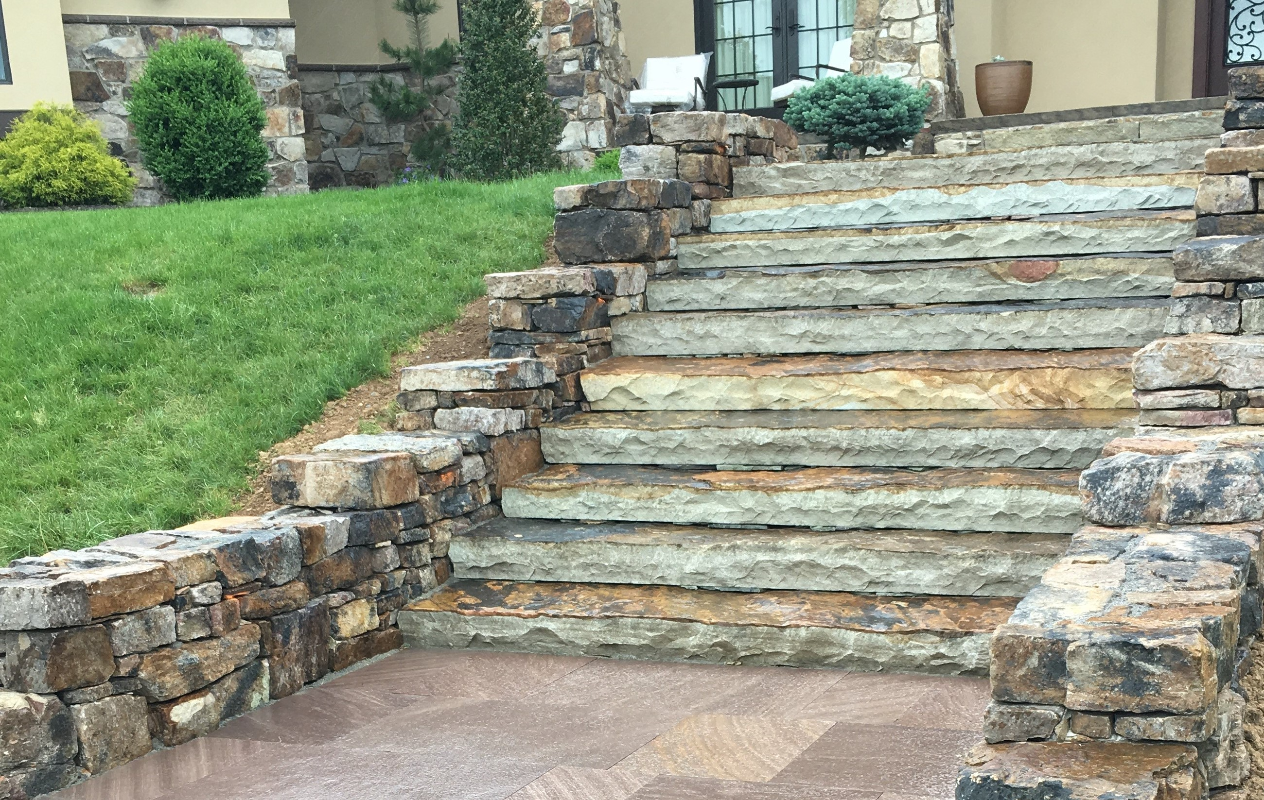 Natural Stone Steps And Wall