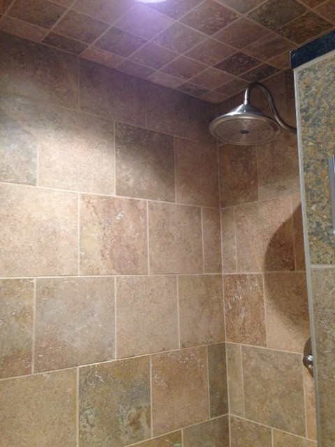 Rustic Walnut Travertine Shower Walls And Ceiling
