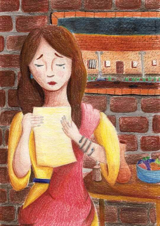 Julius's Gift Girl reading a letter