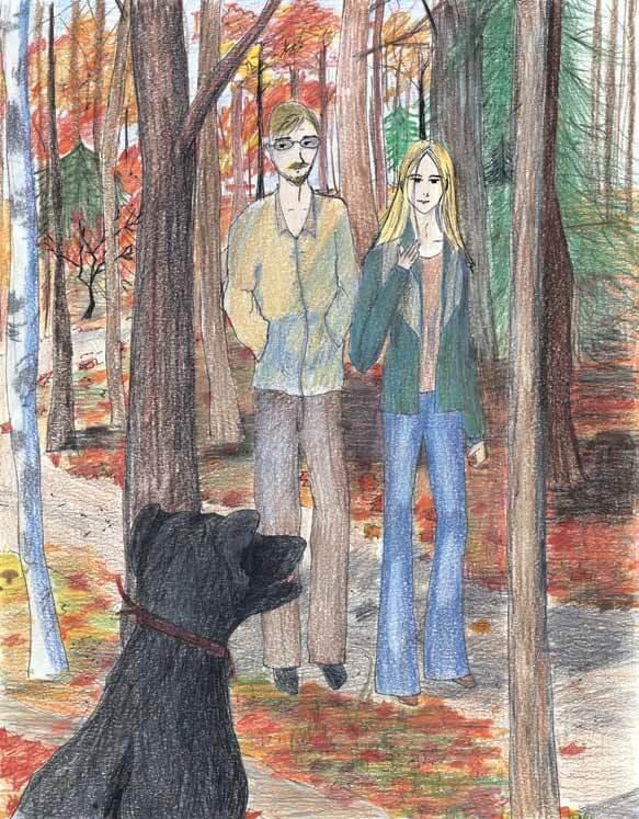 Shadow finding a black dog