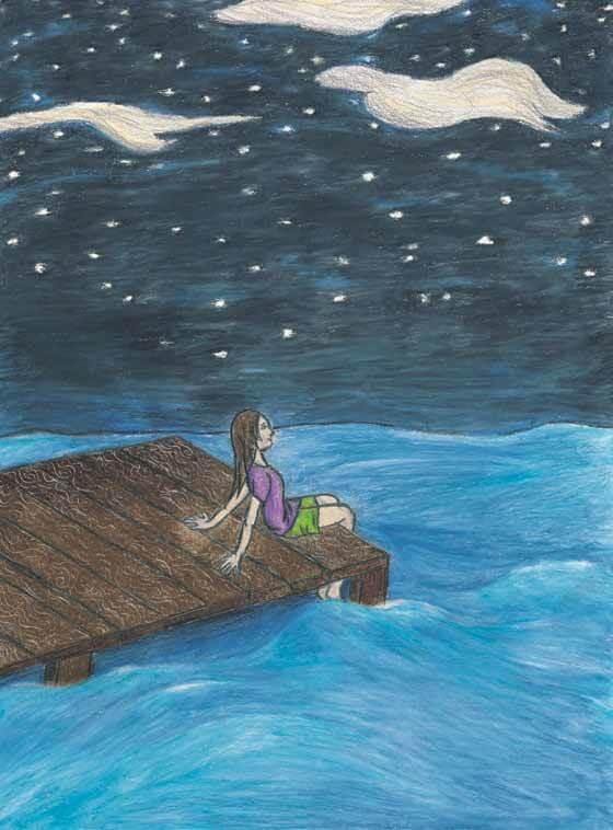 The Chesapeake Bay Manatee girl sitting by the dock