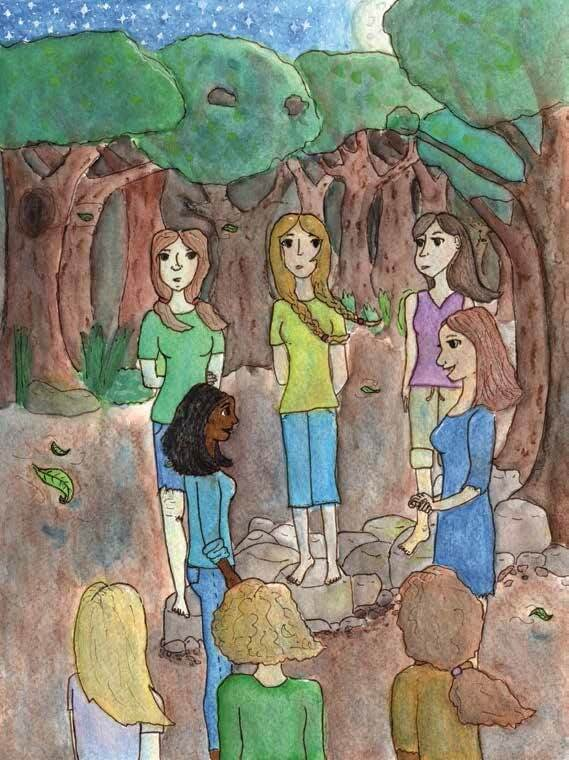 Daughter of Bastet women gathering in the woods