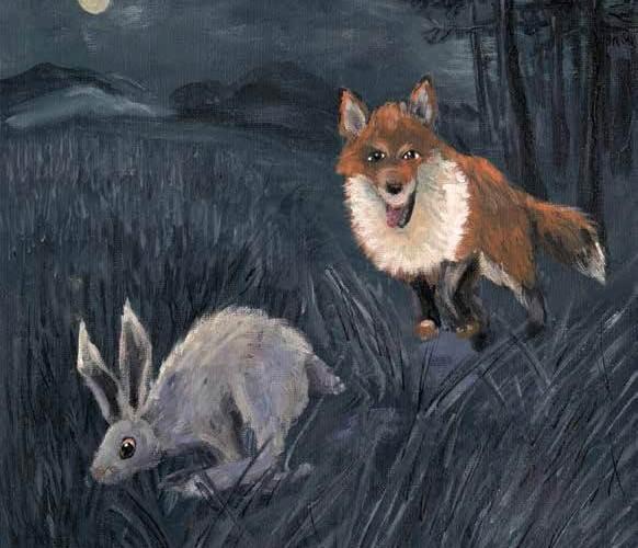 Whisper of Night fox is hunting the rabbit