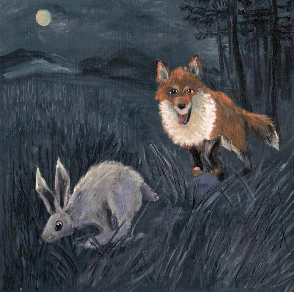 Whisper of Night fox is hunting the rabbit