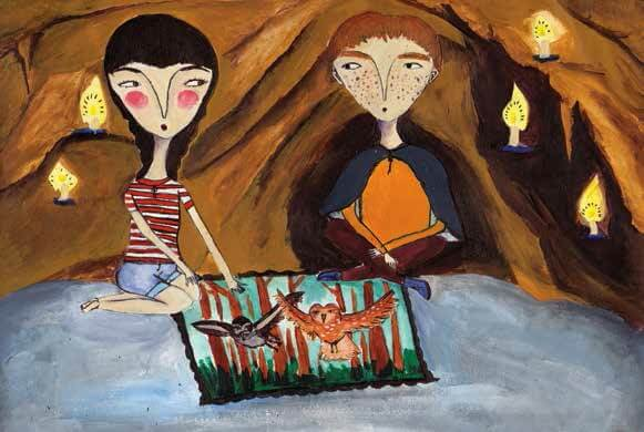 The Owls of Morovia boy and girl in a cave