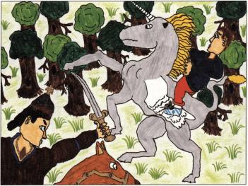 The Baron, the Unicorn, and the Boy riding a unicorn