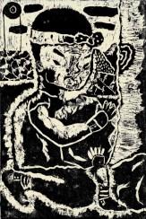 A woodcut print of a man in a garden.