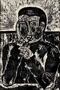 My Friend With a Serious Face, Shisko Watanabe, age 14. Woodcut.